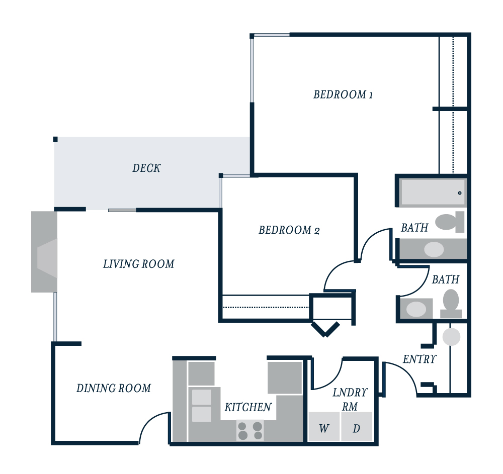 Genoa Floor Plan - Starboard Apartments, Juanita Beach, Kirkland, Washington 98034