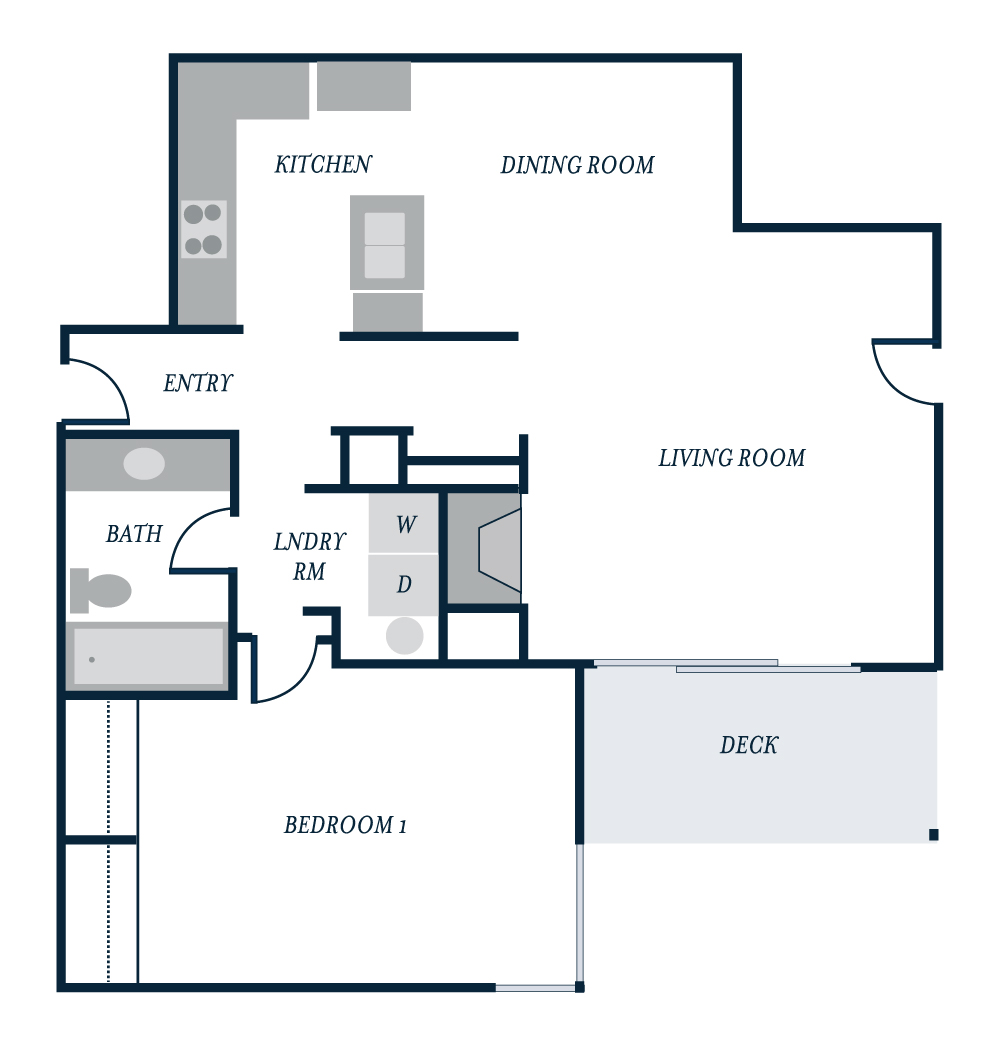 Spinnaker Floor Plan - Starboard Apartments, Juanita Beach, Kirkland, Washington 98034